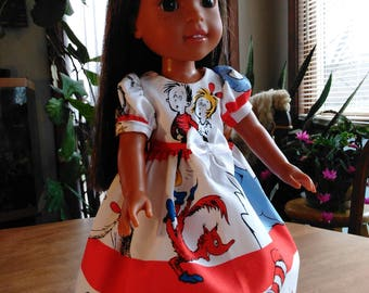 """14.5"""" doll cat in the hat print dress and hair bow, tea length doll dress, made to fit wellie wishers and glitter girls"""