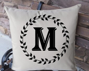 KHAKI OUTDOOR pillow cover laurel wreath monogram pillow cover only