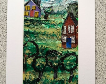 Edge of the Village a  mixed media abstract collage on paper 16 cm x25 cm