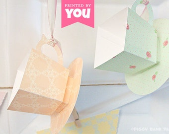 Tea Cup Favor Box Set - Shabby Chic: DIY Printable Tea Party Themed PDF - Instant Download