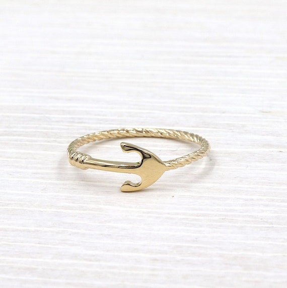 gold plated ring anchor women