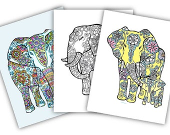 Elephants -3 Adult Coloring Pages: Instant Digital Download