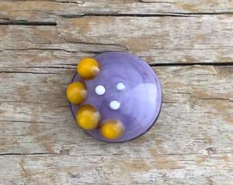 Domed cabochon handmade glass lavender, mustard yellow, ecru, raised dots, Bohemian, glass cabochon hand-made by Unventdeliberte