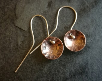 Copper disc earrings with silver ear hooks (#0236)