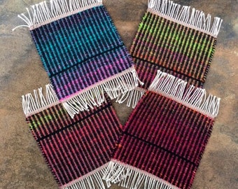 Handwoven Shift in the Cosmos Mug Rugs, Set of 4, coasters