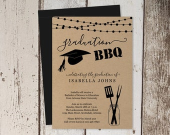 2018 Graduation BBQ Invitation Template - Women, Men, Girl, Boy, High School, College, Barbeque Party - Printable Instant Download Digital