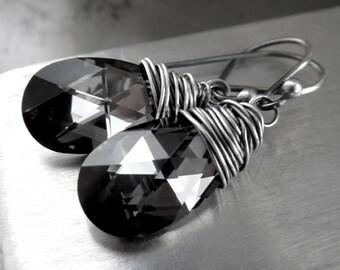 Teardrop Crystal Earrings, Black Grey Gray Swarovski Crystal Teardrop Earrings, Oxidized Sterling Silver Wire Wrapping, Black Diamond Pear
