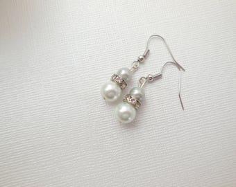 Custom order pearl earrings with rhinestone rondelle