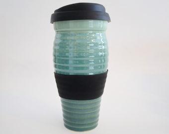 IN STOCK, Coffee Gift, Stoneware Green Ribbed Travel Mug with Silicone Lid and Sleeve, Large To Go Coffee Mug, 24 oz Eco Mug