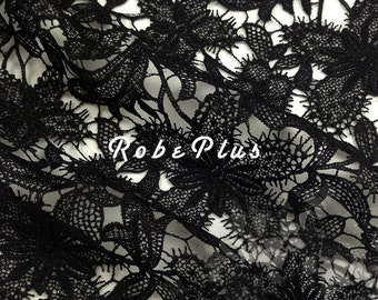 Floral Black Lace fabric - Floral White Lace fabric - Floral Black Lace - White Floral Lace - Black Floral Lace Fabric-L20