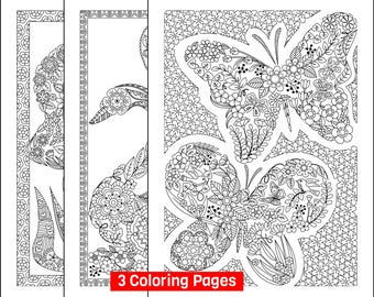 Three (3) Printable Uniquely-Shaped Coloring Pages; Swan-shaped, Butterfly-shaped, Fish-shaped adult coloring pages; Digital Downloads