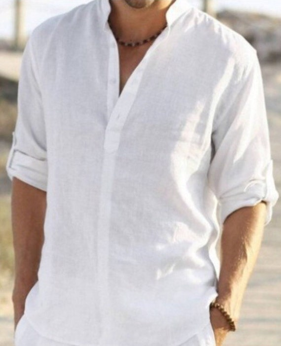 Relatively Man white linen shirt beach wedding party special occasion VF78