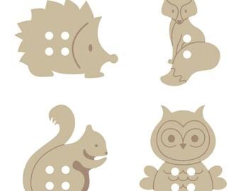 Set of 24 forest, Fox, owl, hedgehog wooden buttons