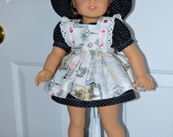 18 Inch Doll Clothes Short Sleeve Dress, Coordinating Ruffled Pinafore, Matching Panties and Floppy Brimmed Hat by SEWSWEETDAISY
