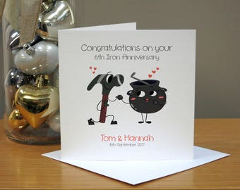 Personalised 6th Anniversary Card - Iron Anniversary Card - Funny Anniversary Card - Cartoon - For Husband/Wife - For Couple - For Him/Her