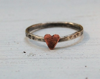 Boho Rustic Heart Ring - Sterling Silver and Copper - Mixed Metal Jewelry - Handcrafted - Custom Made - Gift For Her