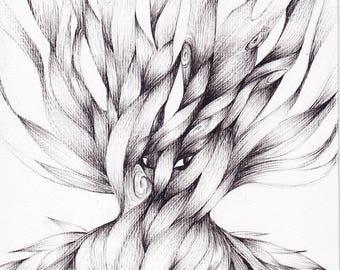 """Illustration originale - encre """"Forest Spirit"""""""