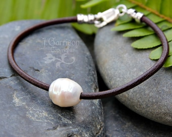 Pearl and Leather Anklet or Bracelet - brown leather & white freshwater pearl - wisdom, zen -free USA shipping