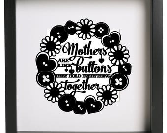 Mothers are like buttons .... Circle .... Box Frame Vinyl Sticker Only Ribba Box Frame