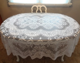 Delightful White Lace Oblong Tablecloth  Oval Lace Tablecloth