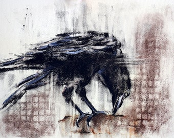 Original Charcoal Drawing Crow Raven Black and White Art 12x8""