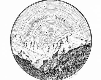 Star Trails Landscape, Little Dipper and Big Dipper over Mount Olympus, Giclee Print, Star Themed Art, Pen and Ink Drawing, Constellation