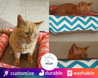 Custom Cat Bed - Design Your Own!  Coral, Turquoise, retro, brown  - Cat Bed | Washable