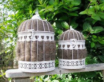 Native Bird Nester,  Garden Decor, White Birdcage,  Llama Fiber Nester, Outdoor Decor, Native Nesting Material, Natural Home, Gardener Gift