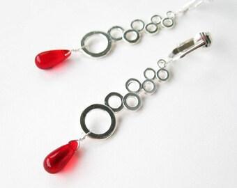 Silver Bubble Clip-on Earrings, Bright Red Glass Teardrop Long Dangle Clipons, Circle Column Modern Earrings for Non Pierced Ears, Bubble