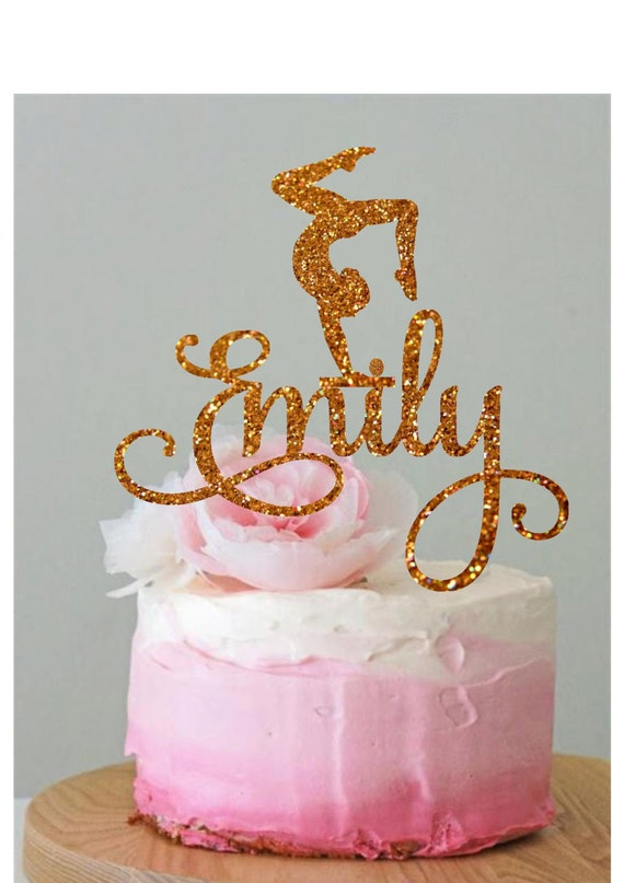 Personalized Gymnastics Cake Topper Gymnast Cake Topper Birthday