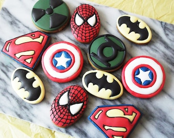Superhero cookies 10 biscuits - Batman cookies - Superman cookies  - Spiderman cookies - Captain America cookies - superhero biscuits