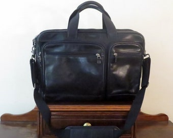 Dads Grads Sale Hartmann Soft Side Briefcase Laptop Carrier In Black Leather & Silver Tone Hardware With Detachable Cross Body Strap - VGC