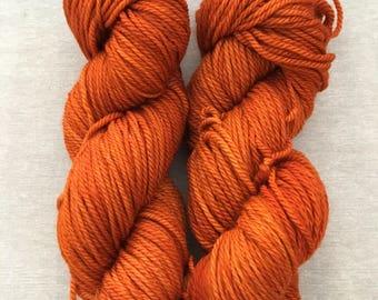 Hand Dyed Yarn 100% Merino Superwash Aran Wool Burnt Orange