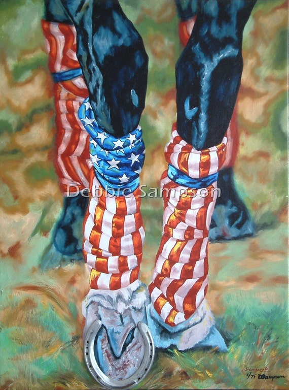 Horse Racing Americana Flag USA art limited edition print small giclee' signed