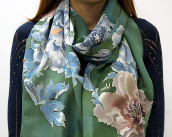 Handmade silk scarf Peony in green. Hand painted silk scarf, green, blue, pink hand painted scarf Floral scarf. Peony flowers. READY to Ship