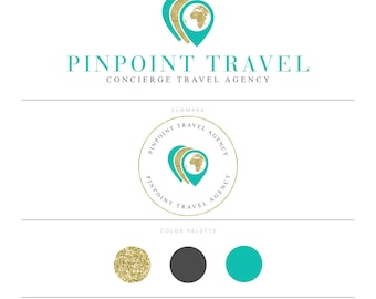 Travel Blog Logo Design Travel Agency Logo Travel Branding Travel Blog Wanderlust Gold Glitter Logo Design Travel Agency Brand Package