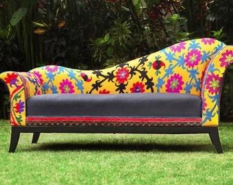 Handmade Charm Suzani Sofa, with flowers, Vintage uzbek hand embroidery. Bohemian sofa
