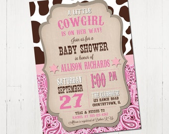 Cowgirl Baby Shower Invitation - Printable Cowgirl Baby Shower Invitation - Western Baby Shower Invite - Printable Baby Shower Invitation
