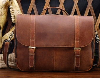 Leather messenger bag satchel crossbody 15 16 14 13 laptop briefcase weekender overnight mens womens genuine travel luggage first layer RH3
