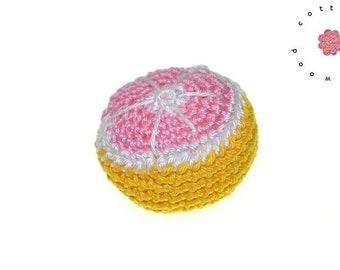 Crochet  grapefruit - 1 psc - 100% cotton - crochet fruit