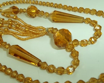 1940's Golden Yellow Cut Glass Lariat Tassel Necklace