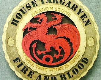 "Custom 12"" Game of Thrones House Targaryen Wall Tribute - FREE SHIPPING"