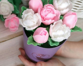 Soap bouquet pink tulips birthday gift for mom
