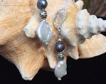 Grey and White Fresh Water Pearl Earring
