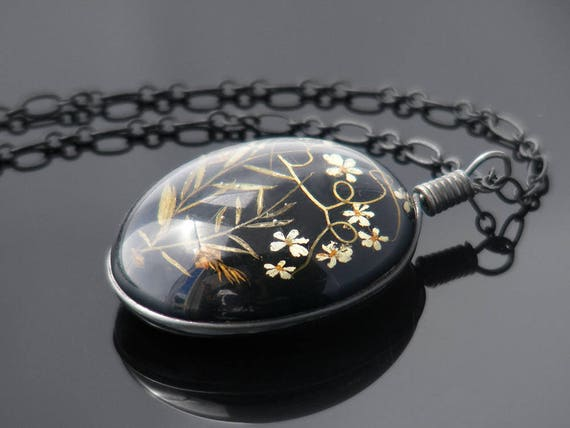 Vintage Flower Pendant | Glossy Black Resin with Tiny 3D Alpine Flowers | Sterling Silver Fittings | Black Oval - 28 Inch Matte Black Chain