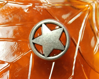 Metal Buttons - Ring Star Metal Buttons , Matte Gunmetal Color , Shank , 0.91 inch , 10 pcs