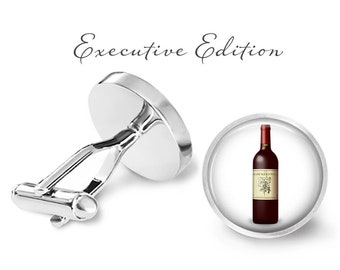 French Wine Cufflinks - Merlot Cufflinks - Vino Cufflinks - Red Wine Cuff Links - Wine Bottle Cufflink (Pair) Lifetime Guarantee (S0977)