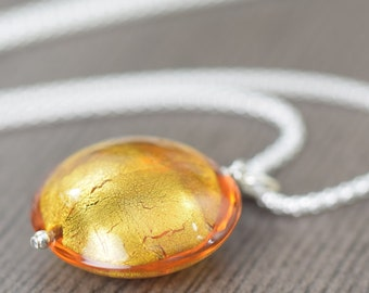 November birthstone necklace Citrine Necklace Yellow glass necklace Murano glass necklace Venetian glass necklace gifts for her