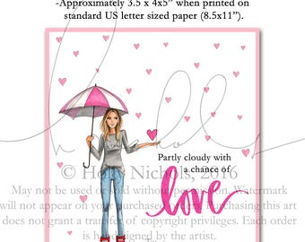 "INSTANT DIGITAL DOWNLOAD Printable Valentines ""Partly cloudy with a chance of love"","