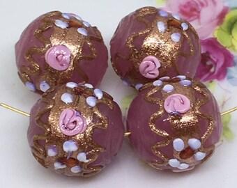 1 Vintage Antique Venetian Glass Pink Fiorato Bead , Vintage Pink Wedding Cake Beads , Round Venetian Murano Glass Beads , 15mm